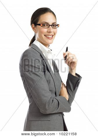 Young Confident Business Woman Holding A Pen 2