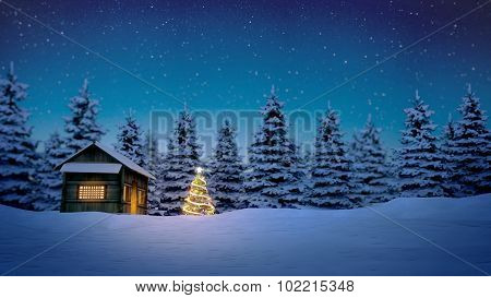 Wooden Cabin And Christmas Tree