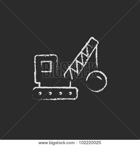 Demolition trailer hand drawn in chalk on a blackboard vector white icon isolated on a black background.