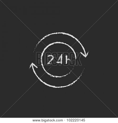 Service 24 hrs hand drawn in chalk on a blackboard vector white icon isolated on a black background.