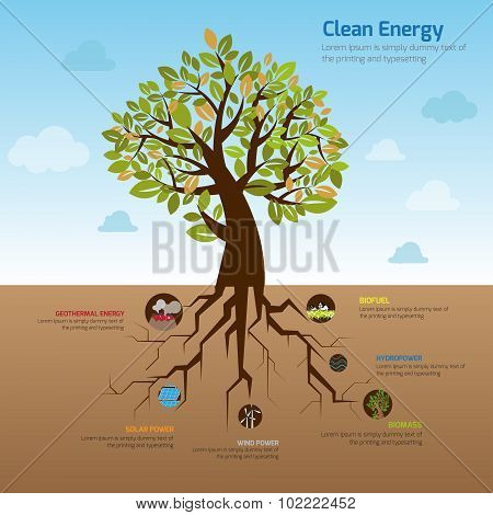 Illustration Tree And It's Wide Spread Root Representing Clean Energy In Flat Infographic Diagram Te