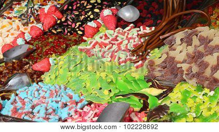 Many Sugary Candy And Chewy For Sale In Candy Stall