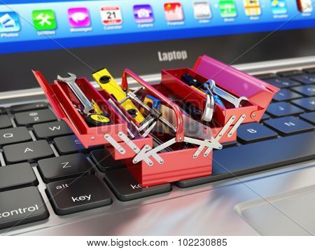 Laptop and toolbox with tools. Online support. 3d