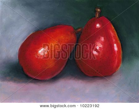 Oil Pastel Painting of Two Red Pears