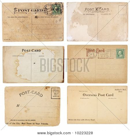 A set of six mildly heavily distressed vintage from early 1900s. Postcards are blank with room for your text and images. Isolated on white with clipping paths. poster