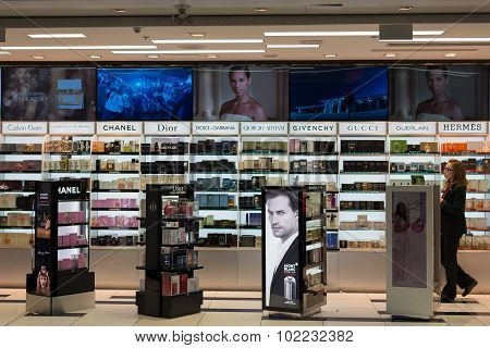 Duty Free Cosmetics Store At Miami International Airport