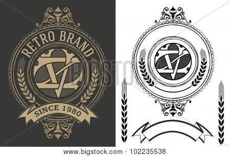 Retro label with monogram and elements