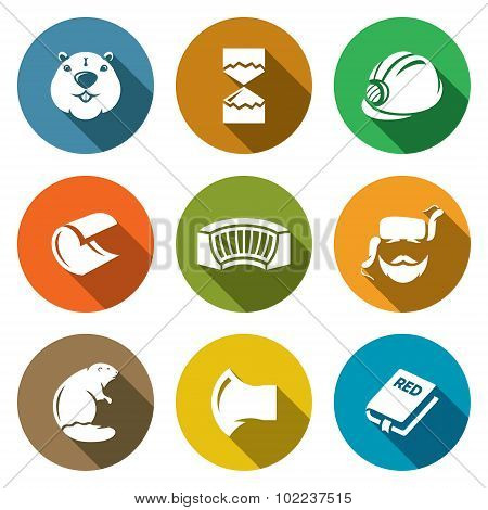 Beaver Icons Set. Vector Illustration.