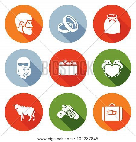 Custom Wedding - Bride Price Icons Set. Vector Illustration.