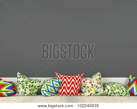 Colorful Cushions And A Gray Wall
