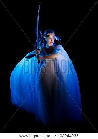 Elven girl with sword isolated