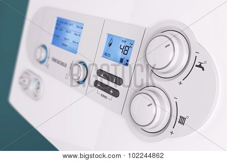 Smart Control Panel Household Gas Boiler Closeup 3D