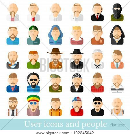 Set of men icons in flat style. Different occupations age and style poster