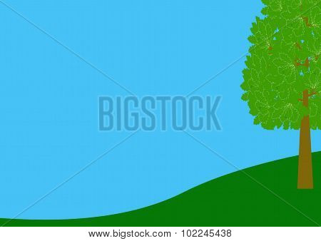 Border Landscape On Blue With Tree On The Right