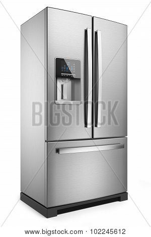Home Refrigerator. Silver Home Fridge Isolated On White Background 3D.