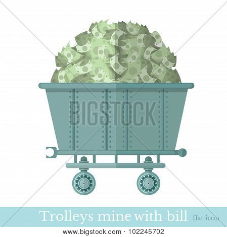 flat trolley mine with bank note bill on white