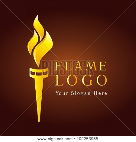 Olympic flaming torch logo. Sport fire gold colored sign. Competitions, union, club or confederacy icon with flames.