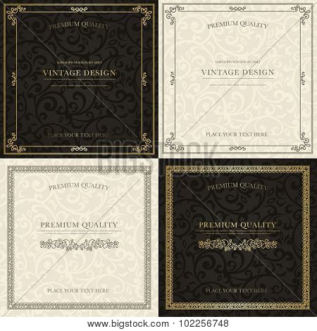 Set of vintage backgrounds. Golden frames on black pattern and gray frames on beige pattern for certificate, diploma, book cover, logo. Flourish design elements.