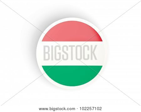 Round sticker with flag of hungary
