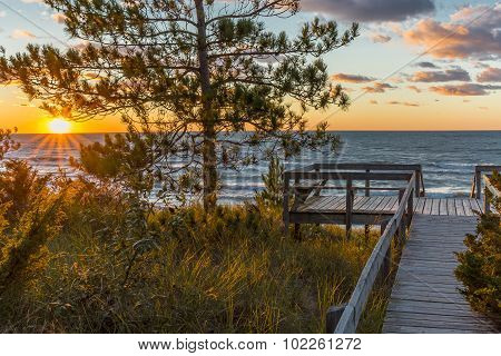 Wooden Deck Overlooking A Lake Huron Sunset - Ontario, Canada