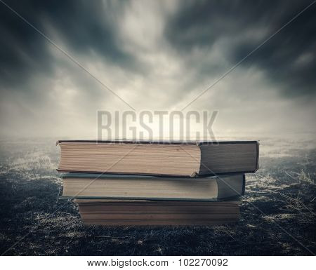 Book In The Dramatic Post-apocalyptic Landscape