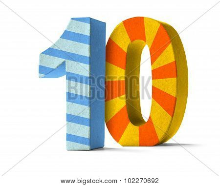 Colorful Paper Mache Number On A White Background  - Number 10