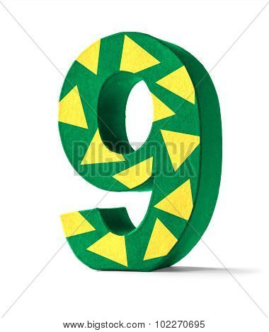 Colorful Paper Mache Number On A White Background  - Number 9
