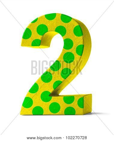Colorful Paper Mache Number On A White Background  - Number 2