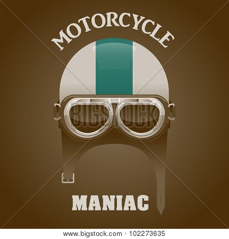 Vintage motorcycle maniac poster, vector illustration