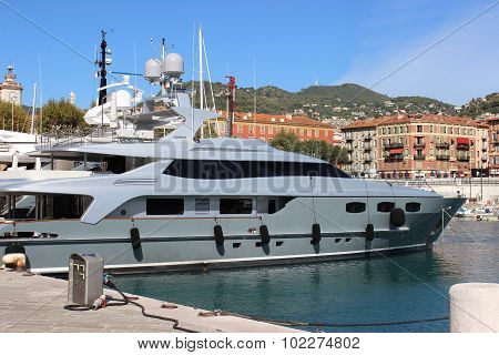 Luxury Yacht In The Port Of Nice, France