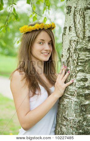 Girl Near Birch