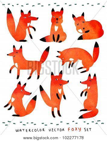 Watercolor vector foxy set