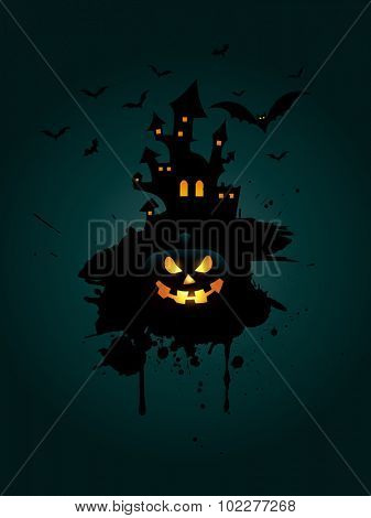Grunge Halloween background with pumpkin and spooky house