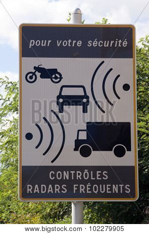 Sign On A Street That Warns For Radar Controle