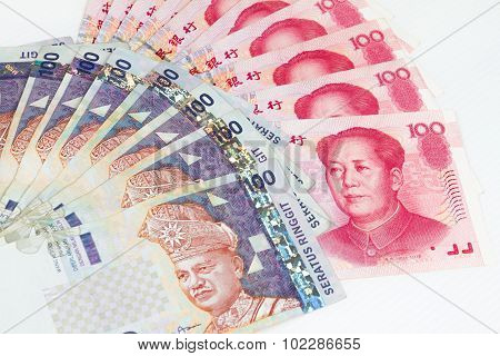 China And Malaysia Bills In White Background