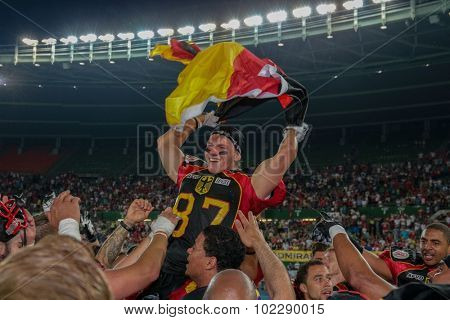 VIENNA, AUSTRIA - JUNE 7, 2014: WR Jan Hilgenfeldt (#87 Germany) celebrates the win of his team in the finals.