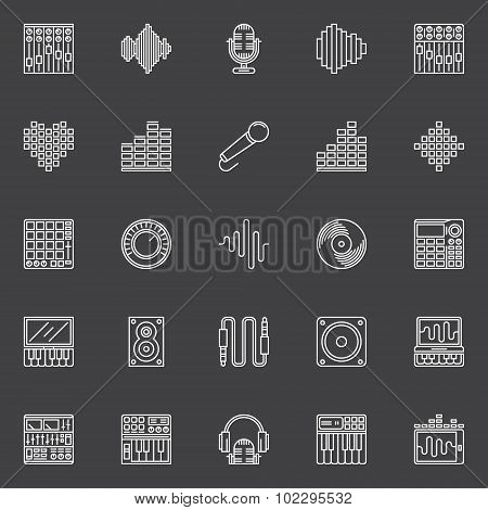 Musical studio linear icons