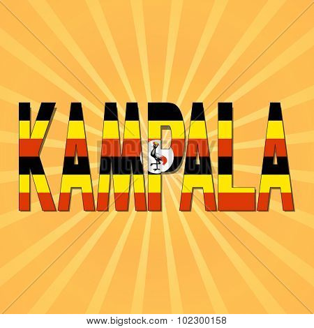 Kampala flag text with sunburst illustration