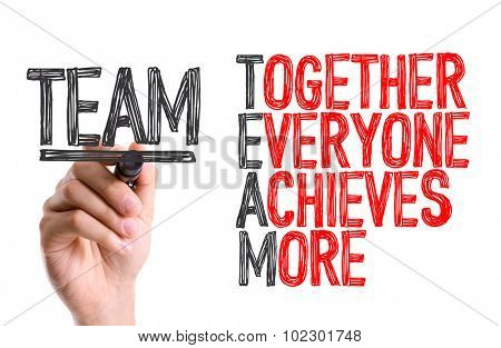 Hand with marker writing: Team Acronym