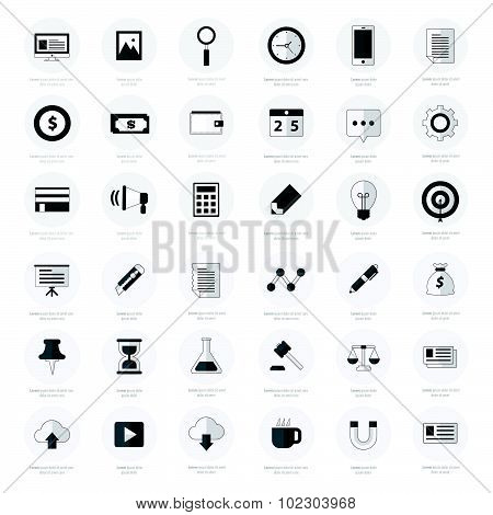 Set Of Business Flat Design Icons Black Color Styles