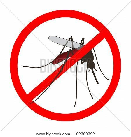 Anti mosquito sign with a realistic mosquito. Mosquito silhouette. Sign anti-Mosquito isolated  on white background. no mosquito. stop mosquito. Vector illustration poster