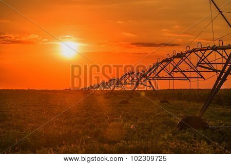 Automated farming irrigation pivot sprinkler system in soy field in sunset poster