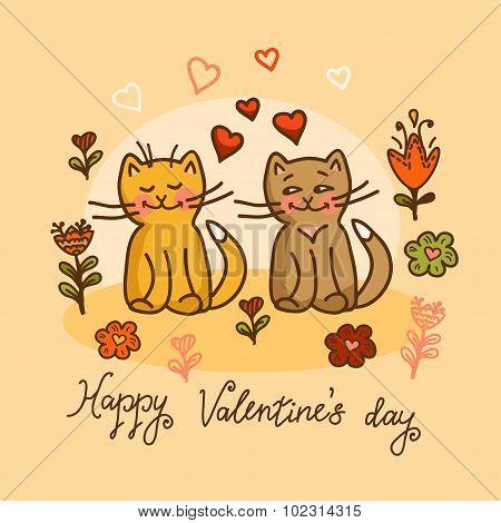 cute cat valentines card