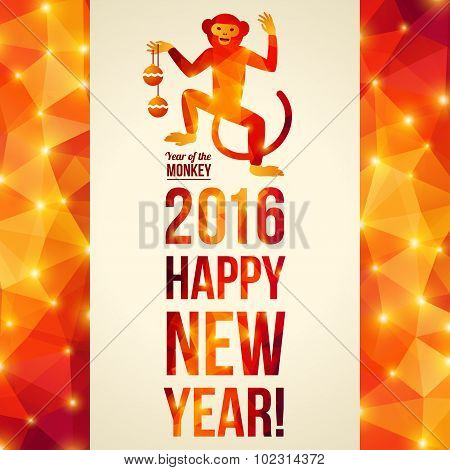 Happy Chinese New Year 2016 Greeting Card. Dancing Monkey.