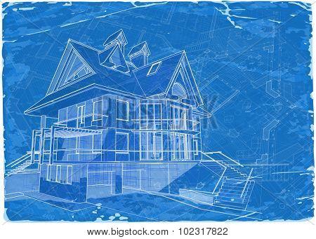architecture blueprint - 3d house / vector illustration / Eps10