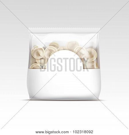 Pelmeni Meat Dumplings Ravioli Tortellini Packaging Package Pack Template Isolated Vector poster