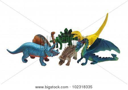 Isolated dinosaurs toys photo.