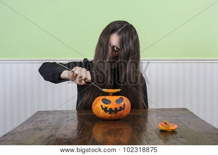Scary Lady Eating Pumkin Soup