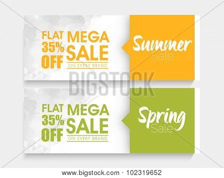 Creative website header or banner set of Mega Summer and Spring Sale with special discount offer. poster