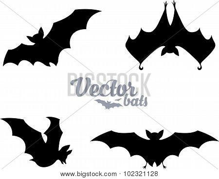 Black bats silhouettes vector set